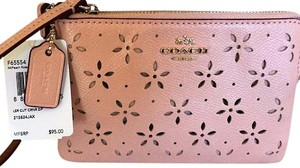 Coach Coach Laser Cut Leather Corner Zip Wristlet In Peach Rose Glitter F65554