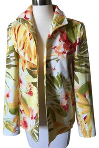 Ellen Tracy Summer Floral Flowers Multi Blazer