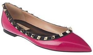 Valentino Rockstud Pink and Black Patent Leather Flats