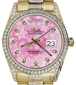 Rolex Rolex Presidential 36MM Day Date Pink Flower Dial Diamond Watch18KT Yellow Gold