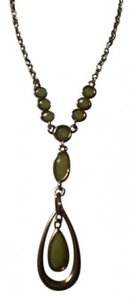 Unknown Gold teardrop necklace w/seafoam green stones