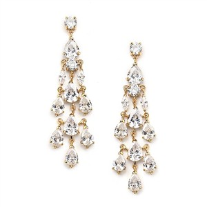 Glamorous 18k Gold A A A Crystal Bridal Earrings