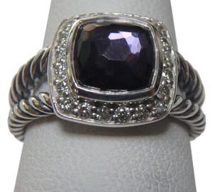 David Yurman size 7 like New With Pouch Albion Petite Ring Black Orchid With Pave Diamonds