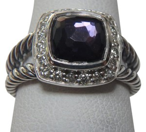 David Yurman size 8 like New With Pouch Albion Petite Ring Black Orchid With Pave Diamonds