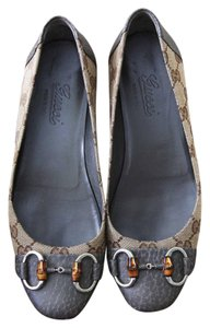 Gucci Ballet Leather Brown and gray Flats