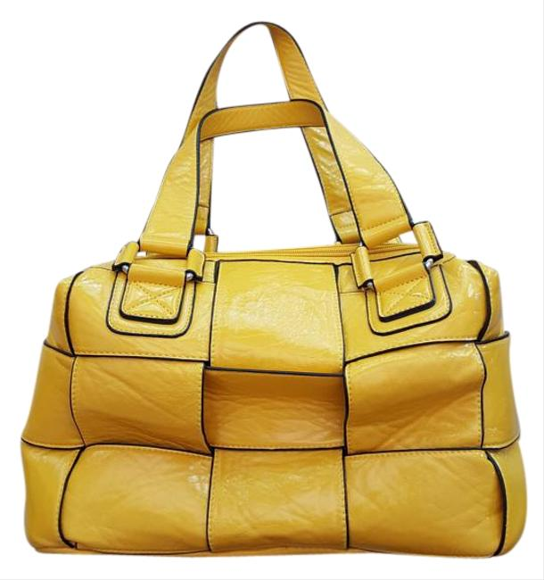 Item - Yellow with Black Leather Tote