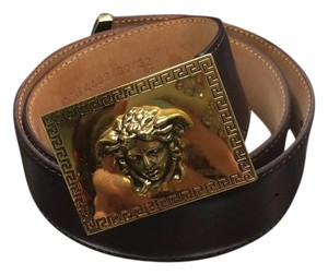 Versace Versace Medusa Brown Leather Belt, Size 32
