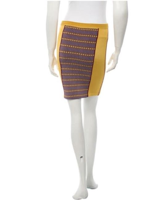 Zac Posen Bandage Pencil Stretch Summer Skirt Mustard yellow Image 2