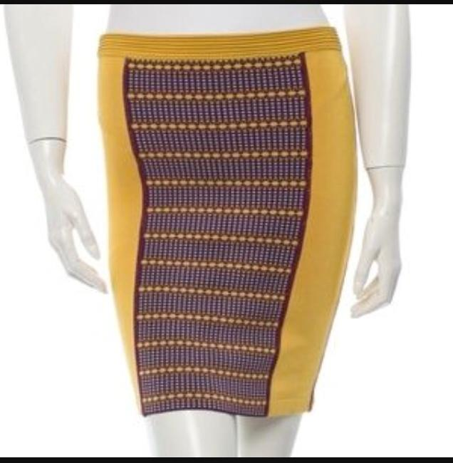 Zac Posen Bandage Pencil Stretch Summer Skirt Mustard yellow Image 4