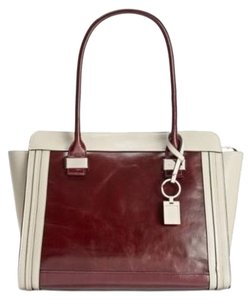 Giani Bernini Leather Wine Bone Casual Tote in Wine/Bone