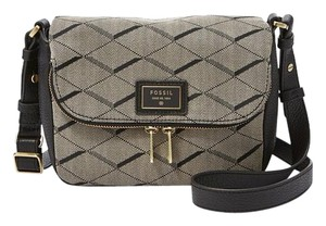 Fossil Cotton Jaquard Grey Black Cross Body Bag