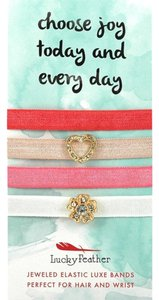 Lucky Feather Lucky Feather LuxeBrand Hair & Wrist Bands - Gold, Pink, Red