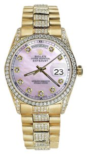 Rolex Rolex Presidential 36MM Day Date Tone Pink Dial Diamond Watch 18 KT Yellow Gold