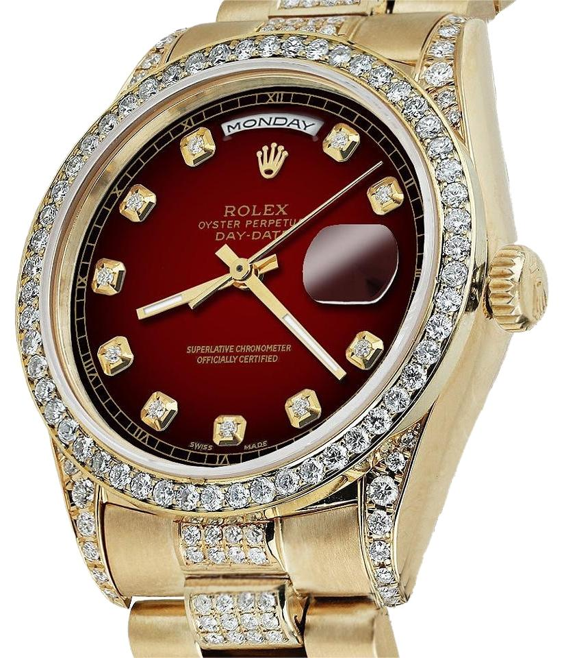 Rolex Presidential Day Date Red Vignette Dial Diamond 18kt Yellow