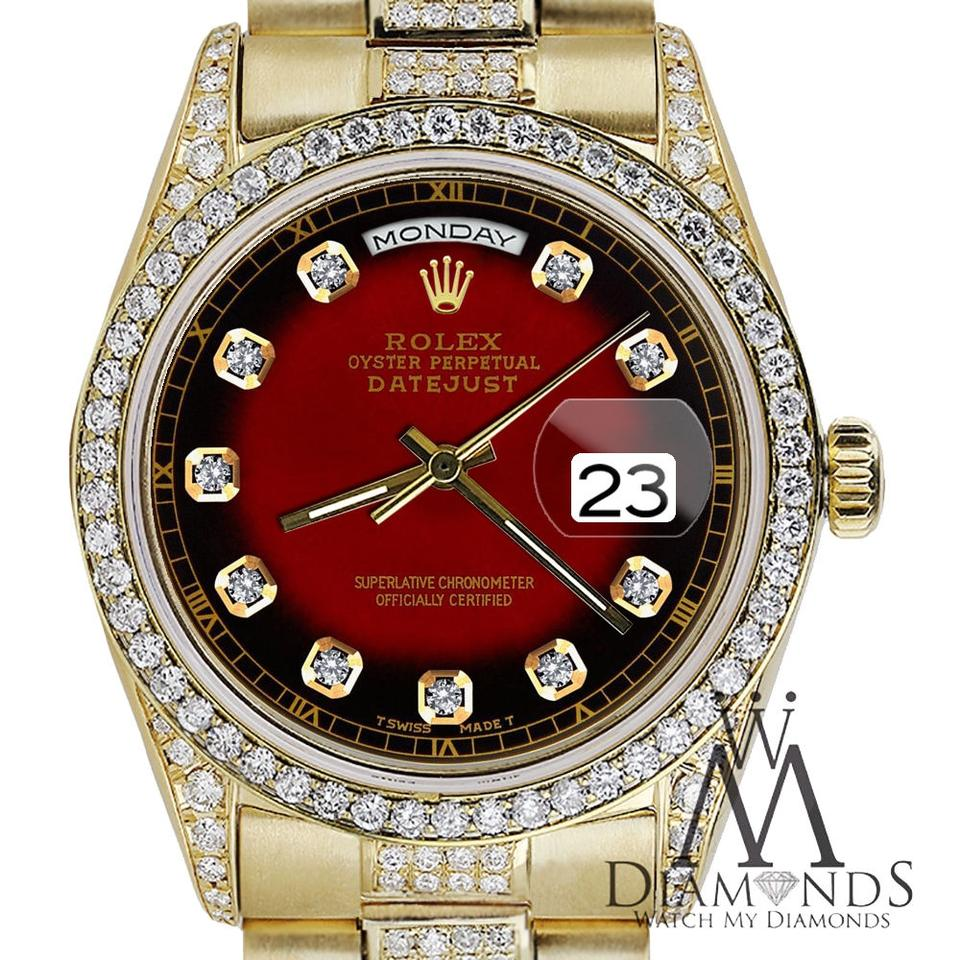 Rolex Presidential Day Date Red Vignette Dial Diamond 18kt Yellow Gold Watch 55 Off Retail