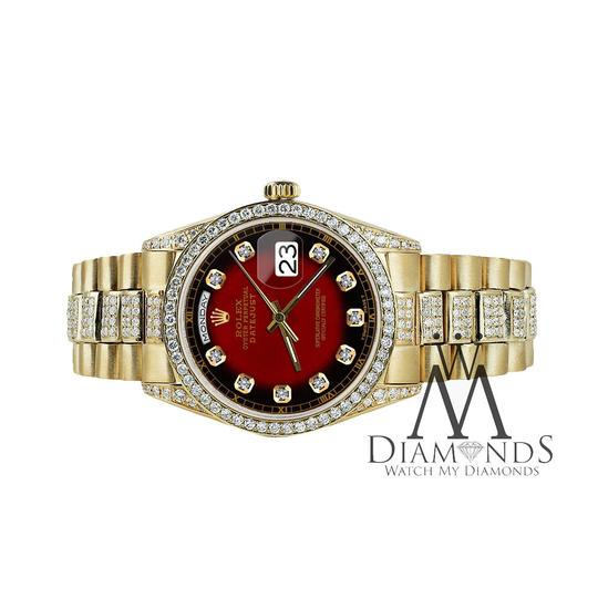 Rolex Rolex Presidential Day Date Red Vignette Dial Diamond 18KT Yellow Gold Image 2