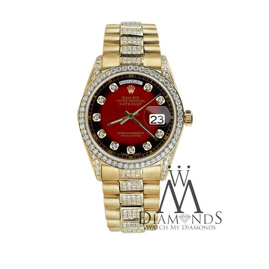 Rolex Rolex Presidential Day Date Red Vignette Dial Diamond 18KT Yellow Gold Image 4