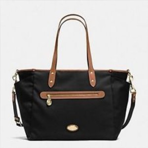 Coach Travel Beach Tote Shopping BLACK W/ SADDLE LEATHER TRIM Diaper Bag