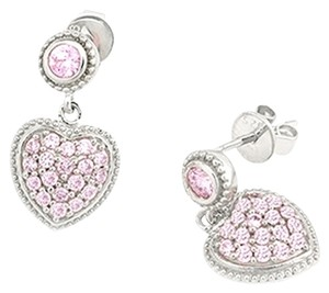 MBLife NEW Silver Kings 925 Sterling Silver Pink CZ Heart Shaped Earrings With a FREE Macaron Coin purse