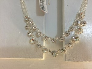 New Cezanne Daisy Waves Rhinestone 2 Layer Necklace