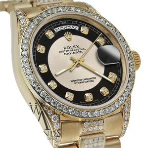 Rolex Rolex Presidential 36MM Day Date SilverBlack Dial Diamond Watch 18KT Yellow Gold