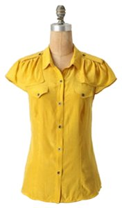 Anthropologie Military Feminine Ruffle Silk Top gold