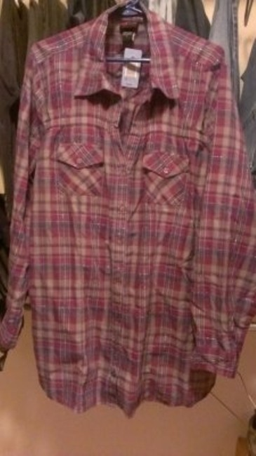 Torrid Blouse Plus Size Fashion Long Sleeve Button Down Shirt Plaid with purple and blue