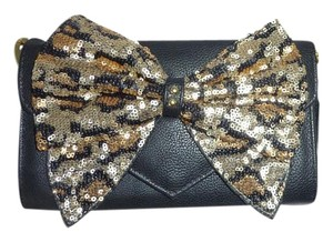 Betsey Johnson Black/leopard sequin bow/wallet on a string