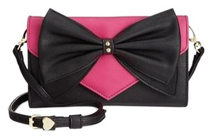 Betsey Johnson Black / pink/ black bow/ wallet on a string