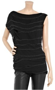 Robert Rodriguez Silk Embellished Party Evening Top Black