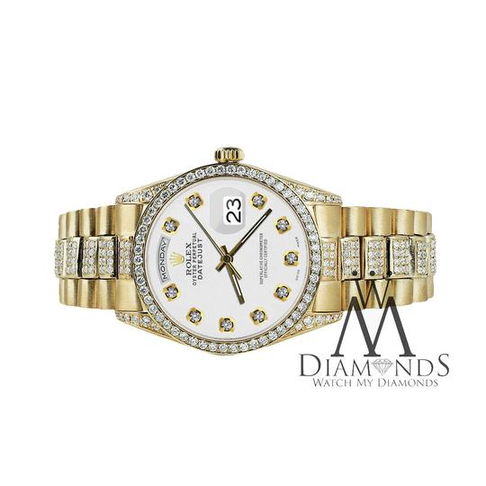 Rolex Rolex Presidential 36MM Day Date White Dial Diamond 18 KT Yellow Gold Image 2
