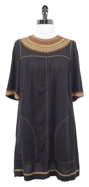 Item - Cotton Blend W - Deep Taupe W/ Embroidery 2 Long Short Casual Dress Size 6 (S)