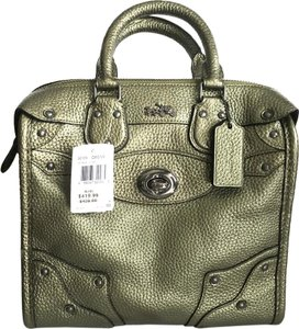 Coach Leather Satchel in Metallic Olive Green / Antique Black Nickel Hardware