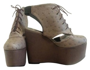 Gold Dot Faux Ostrich Brown Wedges