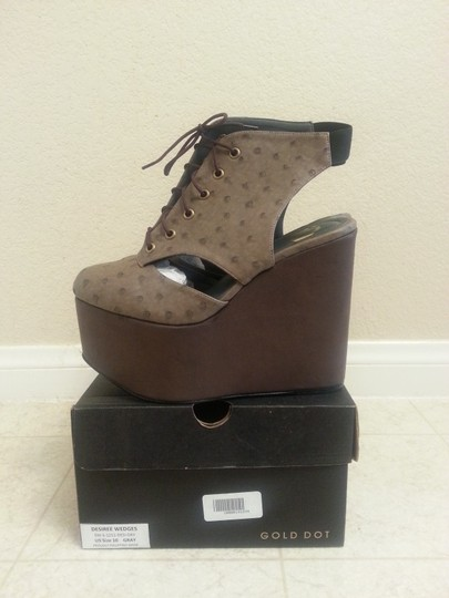 Gold Dot Faux Ostrich Brown Wedges Image 1