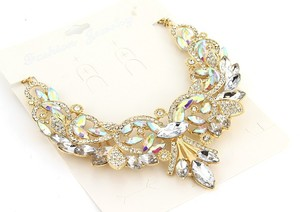 Wedding Cz Necklace Briddal Prom Luxury Clear Choker Necklace Statement Crystal Rhinestone Gold