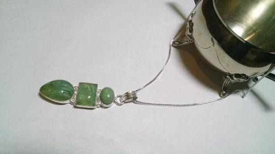 Other Prehnite & Agate Gemstone Pendant Necklace 925 Silver J547