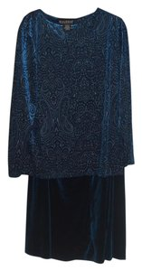 Dialogue Dialogue 2-PC Skirt and Tunic Set Blue Velor Polyester Blend Size 14L