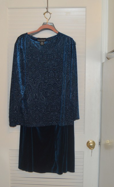 Dialogue Dialogue 2-PC Skirt and Tunic Set Blue Velor Polyester Blend Size 14L Image 10