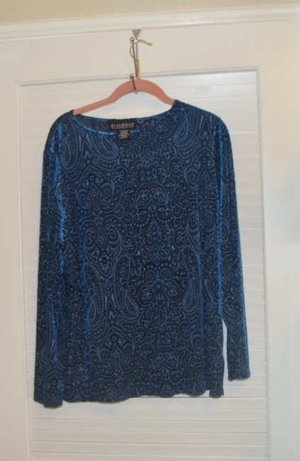 Dialogue Dialogue 2-PC Skirt and Tunic Set Blue Velor Polyester Blend Size 14L Image 3