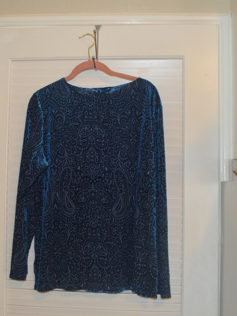 Dialogue Dialogue 2-PC Skirt and Tunic Set Blue Velor Polyester Blend Size 14L Image 4