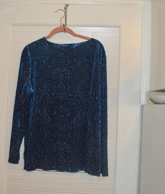Dialogue Dialogue 2-PC Skirt and Tunic Set Blue Velor Polyester Blend Size 14L Image 7