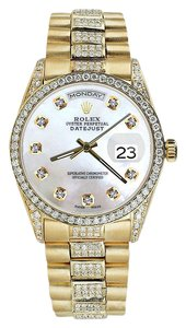 Rolex Rolex Presidential 36MM Day Date White Dial Diamond Watch 18KT Yellow Gold