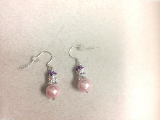 Other Artisan made EARRINGS Jewlery Fish Hook STERLING SILVER EAR WIRES Pink FAX PEARL Purple Rose Image 1