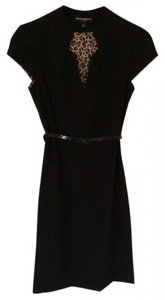 Sharagano Belted Split Neck Dress