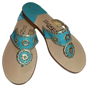 Palm Beach Sandals Turquoise Blue & Gold Sandals