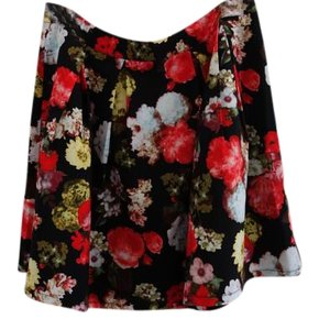 Sans Souci Pleated Floral Mini Skirt Red