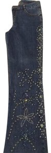 Cache Embroidered Sequined Boot Cut Jeans-Dark Rinse