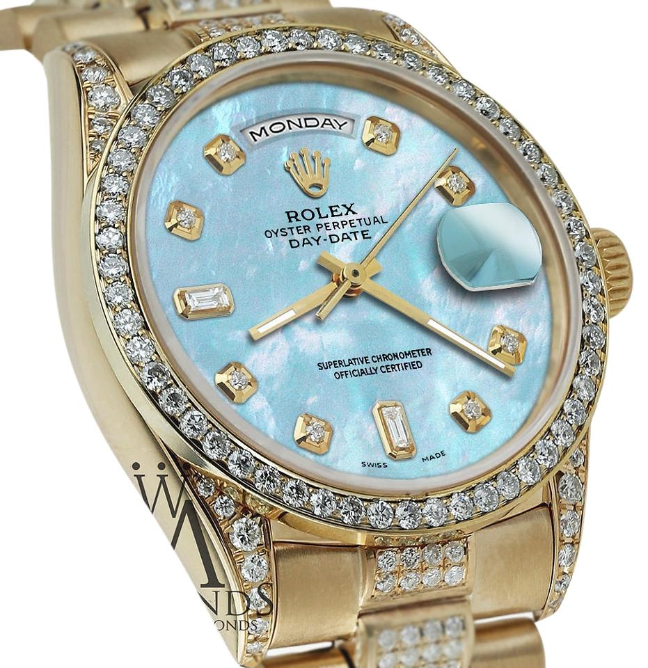 Rolex Presidential 36mm Day Date Baby Dial Diamond 18kt Yellow Gold Watch 55 Off Retail
