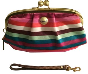 Coach Wristlet Stripes Creative Casual multi-color Clutch